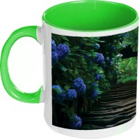 Amy Nature Blue Flowers Inside Green Coffee Ceramic Mug (325 Ml)