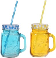ZIDO Colorful Designer Mason Jar Glass Mug (450 Ml, Pack Of 2) - MUGEGH3XTFPHGFZR