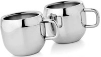 Bosky Double Wall Apple Set Of 2 Stainless Steel Mug (150 Ml, Pack Of 2)