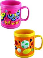 Radius Colorful Designed Mugs For Kids In Set Of Two Plastic Mug (300 Ml, Pack Of 2)