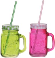 ZIDO Colorful Designer Mason Jar Glass Mug (450 Ml, Pack Of 2) - MUGEGH4FFUT6EG4H