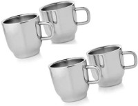 Dynamic Store Set Of 4 Double Wall Classic Cups Stainless Steel Mug (100 Ml, Pack Of 4)