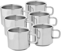 DEEP SOBER Stainless Steel Mug (100 Ml, Pack Of 6)