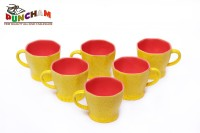Puncham YM Angle Pink Ceramic Mug (100 G, Pack Of 6)