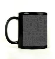 Shoprock Apple Typography Mug (Black, Pack Of 1)