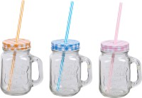 ZIDO Classic Mason Jar Glass Mug (450 Ml, Pack Of 3)