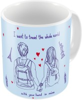 Little India Blue Designer Romantic Print Coffee  705 Ceramic Mug (300 Ml)