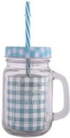 Satyam Kraft Mason Glass Jar - GREEN Pattern Lid With Folded Straw And Handle Glass Mug (502 Ml)