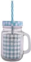 Satyam Kraft Mason Glass Jar - GREEN Pattern Lid With Folded Straw And Handle Glass Mug (502 Ml)