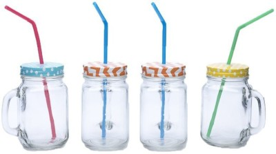 Royalkart Mason Jar With Straw(Set Of 4) Glass Mug (500 Ml, Pack Of 4)