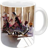 Jiyacreation1 Kalbeliya Dance Multicolor White Ceramic Mug (3.5 Ml)