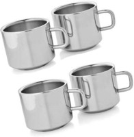 Bosky Double Wall Sobar Set Of 4 Stainless Steel Mug (150 Ml, Pack Of 4)