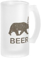 Boxmywish Beer Bear Deer Frosted Glass Mug (500 Ml)
