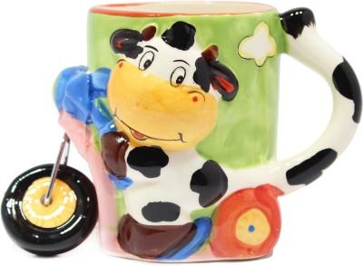 Qian Qian Bike Cow Animal  Porcelain Mug