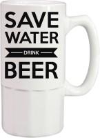 Tiedribbons Save Water Drink Beer Printed Ceramic Mug (350 Ml)