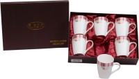 Raga Plus Coffee  250ml 6pc Sq Base Pink Burbarry Porcelain Mug (250 Ml, Pack Of 6)
