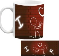 RajLaxmi Love You With Wall Background White  Ceramic Mug (350 Ml)