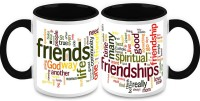 HomeSoGood Friendship Quotes (2 Mugs) Ceramic Mug (325 Ml, Pack Of 2)