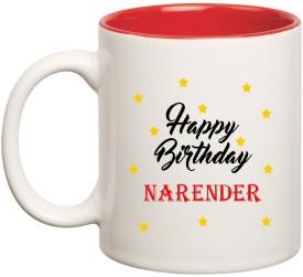 Huppme Happy Birthday Narender Inner Red Ceramic (350ml) Ceramic Mug