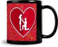 ShopMantra Couple Proposing Heart Mug (Black, Pack Of 1)