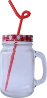 Grooto Glass Mason Jar (Red) Glass Mug (400 Ml)