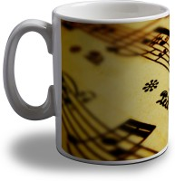 Artifa Music Notes Porcelain, Ceramic Mug (350 Ml)