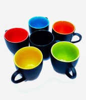 Buyer's Beach Black Duo Tone Multi-Color Set Of 6 Ceramic Mug (180 Ml, Pack Of 6)