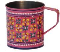 ECraftIndia Handpainted Decorative Stainless Steel Mug (180 Ml) - MUGEGCARK77QFHPY
