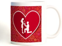 ShopMantra Couple Proposing Heart Mug (White, Pack Of 1)