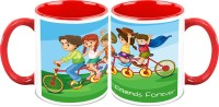 HomeSoGood Cycling With Friends ( Qty 2 ) Ceramic Mug (325 Ml, Pack Of 2)