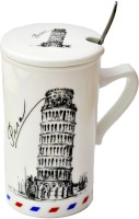 Satyam Kraft Paris Eiffel Tower Mugs With Metal Spoon And Lid Ceramic Mug (340 Ml)