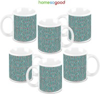 Homesogood Dots With A Message Ceramic Mug (325 Ml, Pack Of 6)