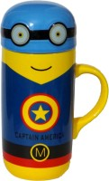 Satyam Kraft Captain America Minion  Big Size - 400ml Ceramic Mug (400 Ml)