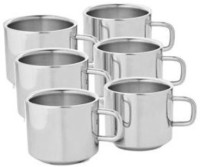 Zahab Tea & Coffee Double Wall Cup Set Stainless Steel Mug (125 Ml, Pack Of 6)