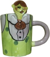 Dragon 3D Green Cartoon Design With Spoon Kids Ceramic Mug (220 Ml)