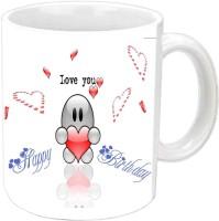 Rajlaxmi I Love You Happy B'day White Ceramic Mug (3.5 Ml)