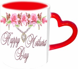 Jiyacreation1 Happy Mother's day with nice flower Red Heart Handle Ceramic Mug