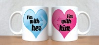 StyBuzz I Am With Her And I Am With Him Heart Couple Mug (White, Pack Of 2)