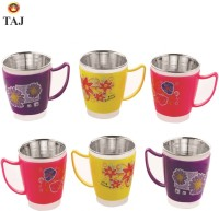 Taj S.S EURO Inner Fancy Milk/Tea/Coffee Medium Cups Stainless Steel, Plastic Mug (180 Ml, Pack Of 6)