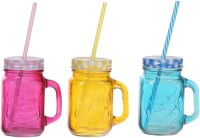 ZIDO Colorful Designer Mason Jar Glass Mug (450 Ml, Pack Of 3) - MUGEGH3TC2HE9KHT