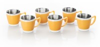 RK Super Lock & Seal Tea / Coffee Cup (Evolo Mini) Orange Color Stainless Steel, Plastic Mug (120 Ml, Pack Of 6)