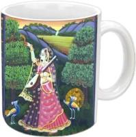 Jiyacreation1 Lovely Design For Rajasthani Culture Multicolor White Ceramic Mug (3.5 Ml)