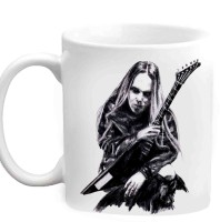 Jiyacreation1 Sketched Singer With Guitar Multicolor White Ceramic Mug (350 Ml)