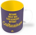 Thinkpot Nothing Great Was Ever Achieved Without Enthusiasm - Ralph Waldo Emerson Mug - Purple, Yellow, Pack Of 1