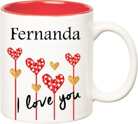 HuppmeGift I Love You Fernanda Inner Red  (350 ml) Ceramic Mug