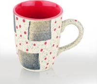 SahajPreet Beige & Red Dotted Handcrafted Marble Finish Duo Tone Ceramic Milk/Coffee  Ceramic Mug (300 Ml, Pack Of 2)