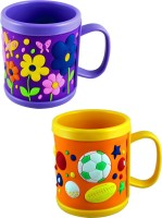 Radius Purple & Orange Embossed Cartoon Mugs For Kids (Pack Of Two) Plastic Mug (300 Ml, Pack Of 2)