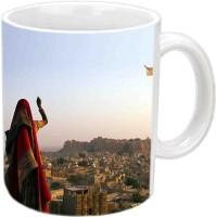 Jiyacreation1 Flying Kite For Marwadan Multicolor White Ceramic Mug (3.5 Ml)