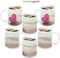 HomeSoGood Great Woolen Patience Heart Love Ceramic Mug (280 Ml, Pack Of 6)