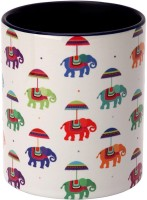 The Elephant Company  White Flying Elephants Ceramic Mug (180 Ml)